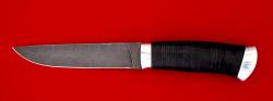 Охотничий нож Леопард, клинок дамасская сталь, рукоять кожа, металл