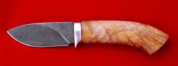 Охотничий нож Лось, клинок дамасская сталь, рукоять кап