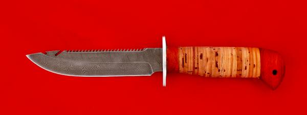 """Нож """"Рыбацкий-4"""", клинок дамасская сталь, рукоять береста, с упорами"""