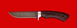 Охотничий нож Грибник-2, клинок дамасская сталь, рукоять венге