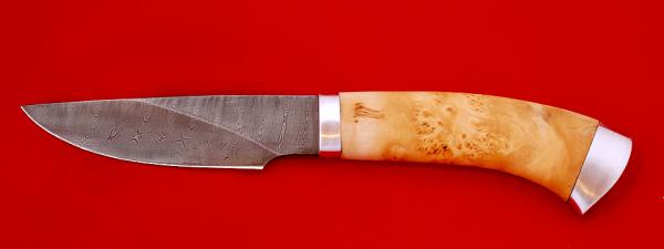 """Охотничий нож """"Рысь-2"""", клинок дамасская сталь, рукоять кап, металл"""