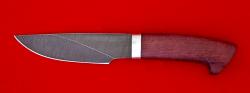 Охотничий нож Рысь, клинок дамасская сталь, рукоять амарант