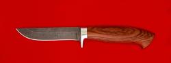 Охотничий нож Финский, клинок дамасская сталь, рукоять бубинга
