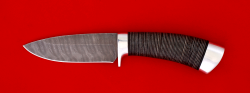 Охотничий нож Соболь-2, клинок дамасская сталь, рукоять кожа, металл