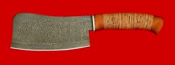 Нож Тяпка, клинок дамасская сталь, рукоять береста