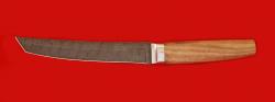 Нож Самурай большой, клинок дамасская сталь, рукоять орех