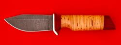 Нож Байкер, клинок дамасская сталь, рукоять береста