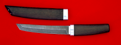 Нож Самурай большой, клинок дамасская сталь, рукоять венге, деревянный чехол