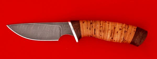 """Нож """"Медвежонок"""", клинок дамасская сталь, рукоять береста"""