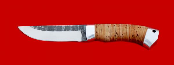 """Нож """"Бурундук"""", клинок сталь 95Х18 со следами ковки, рукоять береста, металл, с отверстием под темляк (ремешок)"""