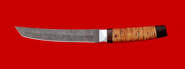 """Нож """"Самурай большой"""", клинок дамасская сталь, рукоять береста"""