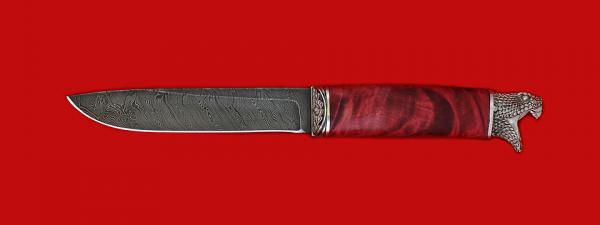 """Нож """"Карачаевский"""" (""""Бычак""""), клинок дамасская сталь, рукоять стабилизированный кап (цвет темно-розовый), мельхиор"""