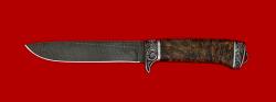 Нож Горец, клинок дамасская сталь, рукоять стабилизированная карельская береза, мельхиор