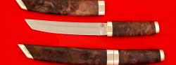 """Нож """"Самурай большой"""", клинок сталь 95Х18, рукоять кап ореха, деревянный чехол"""