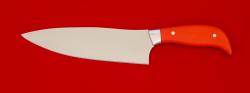 Нож Шинковочный большой, клинок сталь 95Х18, рукоять G10 (цвет оранжевый)