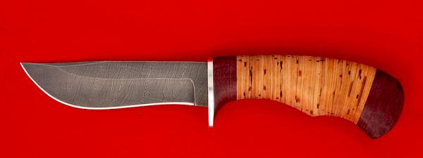 """Охотничий нож """"Филин"""", клинок дамасская сталь, рукоять береста"""