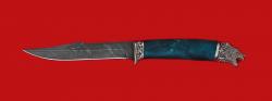 Нож Охотник, клинок дамасская сталь, рукоять стабилизированный кап (цвет зеленый), мельхиор