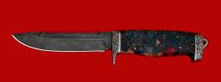 """Нож """"Рыбацкий-3"""", клинок дамасская сталь, рукоять стабилизированная карельская береза, мельхиор"""
