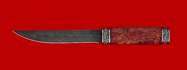 """Нож """"Якутский большой"""", клинок дамасская сталь, рукоять стабилизированный кап, мельхиор"""