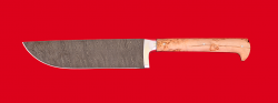 Нож Узбекский, цельнометаллический, клинок дамасская сталь, рукоять карельская береза