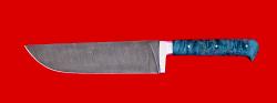 Нож Узбекский большой, цельнометаллический, клинок дамасская сталь, рукоять стабилизированная карельская береза (цвет зелёный)