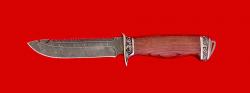Нож Рыбацкий-4, клинок дамасская сталь, рукоять бубинга, мельхиор