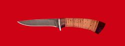 Нож Лисица, клинок дамасская сталь, рукоять береста