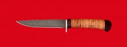 Нож Засапожный №2, клинок дамасская сталь, рукоять береста
