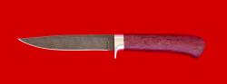 Нож Засапожный №2, клинок дамасская сталь, рукоять амарант