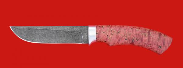 """Нож """"Грибник"""", клинок дамасская сталь, рукоять стабилизированная карельская береза"""