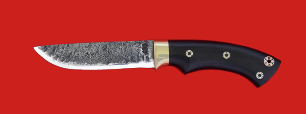 """Нож """"Грибник"""" цельнометаллический, сталь 9ХС, рукоять микарта с фигурными штифтами"""