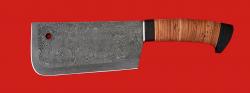 Нож Тяпка мясницкая, дамасская сталь, рукоять береста