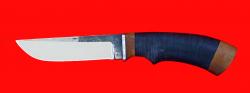 Нож Грибник, клинок сталь 95Х18 со следами ковки, рукоять кожа