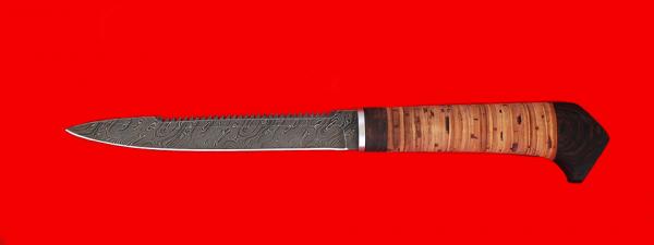 """Нож """"Егерь с насечкой"""", клинок дамасская сталь, рукоять береста"""