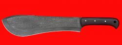 Нож Мачете туристический, цельнометаллический, клинок дамасская сталь, рукоять венге