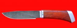 Охотничий нож Универсальный штучный, клинок дамасская сталь, рукоять падук