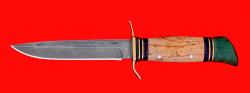 Реплика Финка НКВД, клинок дамасская сталь, рукоять карельская береза