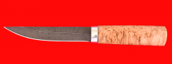 Охотничий нож Якутский средний, клинок дамасская сталь, рукоять карельская береза