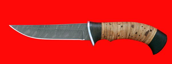 """Нож """"Хищник"""", клинок дамасская сталь, рукоять береста"""