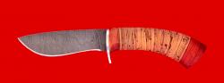 Охотничий нож Фазан, клинок дамасская сталь, рукоять береста