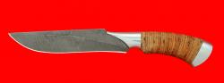 Нож Питон, клинок дамасская сталь, рукоять береста, металл