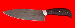 Нож Шинковочный большой, цельнометаллический, клинок дамасская сталь, рукоять венге