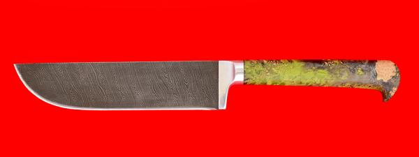 """Нож """"Узбекский"""", клинок дамасская сталь, рукоять стабилизированная карельская берёза, цвет зеленый"""