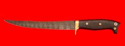 Филейный нож Судак большой, цельнометаллический, клинок дамасская сталь, рукоять карбон, фигурные штифты