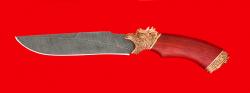 Нож подарочный Питон, клинок дамасская сталь, рукоять падук, латунь