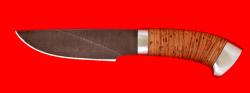 """Охотничий нож """"Рысь"""", клинок дамасская сталь, рукоять береста, металл"""