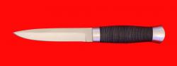 Нож Форель, клинок порошковая сталь ELMAX, рукоять кожа, металл