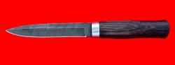 Нож Форель, клинок дамасская сталь сталь, рукоять венге