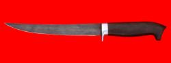 Филейный нож Судак большой, клинок дамасская сталь, рукоять блэквуд