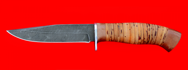 """Нож """"Сокол"""", клинок дамасская сталь, рукоять береста"""